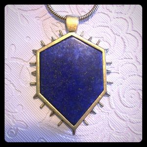Rebecca Minkoff gold plated/lapis blue necklace